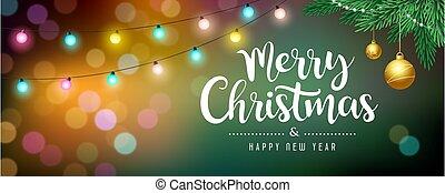 色彩豐富的球, 消息, 聖誕節, bokeh, 顏色, 歡樂, 概念, 松樹, 離開, 背景, 金, 燈泡, 光, 設計