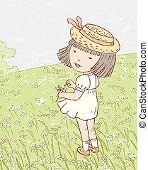 花女孩, meadow.