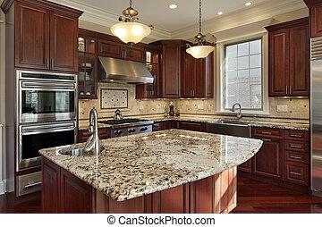 花崗岩, 廚房, 島