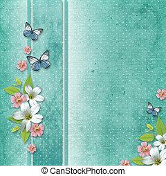 花, 卡片, 蝴蝶, 假期, 祝賀