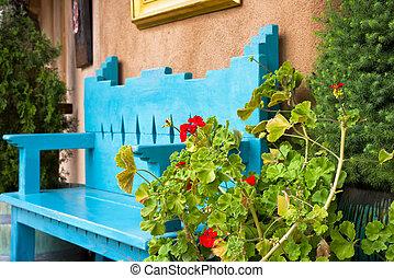 花, 古董, 長凳, 紅色, 前面
