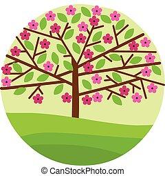 花, 春天花, 樹, 葉子
