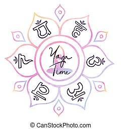 花, 時間符號, 蓮花, 概念, 印第安語, 瑜伽