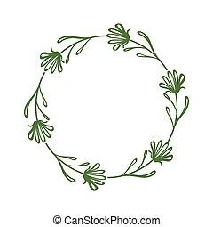 花, 最簡單派藝術家, 摘要, 插圖, 簡單, circle., 顏色, 外形, 離開, flowers., 圖畫, 矢量, style., 框架, 邊框, 線性, 花冠, 植物, 末梢, 綠色, 裝飾, 雅致