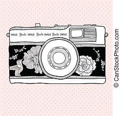花, 照像機, retro, 鳥