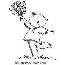 花, 男孩, 插圖, 矢量