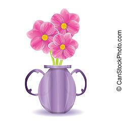 花, 白色, 花瓶, 背景