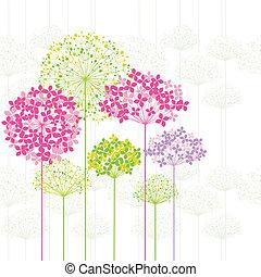 花, 背景, 春天, 鮮艷, 蒲公英