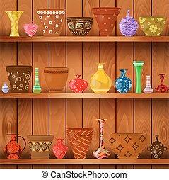 花, 藝術, 架子, 木制, 罐, 設計, 瓶, 你