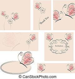 花, 蝴蝶, 卡片