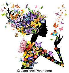 花, 蝴蝶, 時裝, 女孩