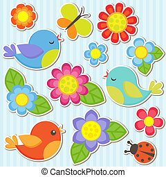 花, 集合, 鳥