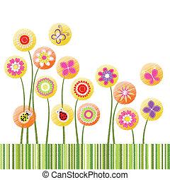 花, 鮮艷, 摘要, 問候, 春天, 卡片