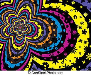 花, 鮮艷, 條紋, 背景