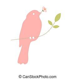 花, 鳥, 額嘴