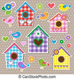 花, birdhouses, 鳥