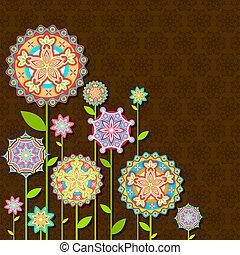 花, retro, 鮮艷