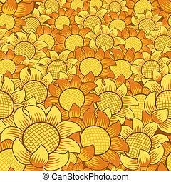 花, seamless, 黃色的背景, 橙, 重复