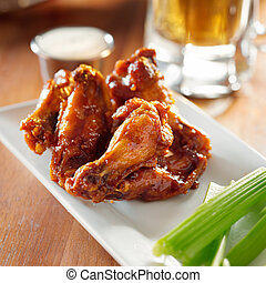 芹菜, ranch., 布法羅, 翅膀, bbq