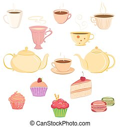 茶壺, 茶杯, 彙整, 甜食