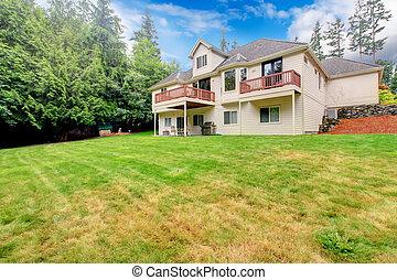 草坪, 房子, area., 大, 原色嗶嘰, 後院, 草