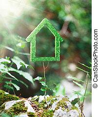 草, 房子, 做, 綠色, 環境