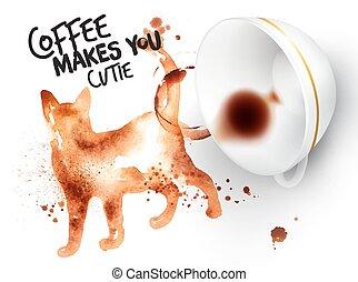 荒野, 海報, 咖啡, 貓