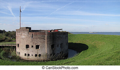 荷蘭, 後面, 堡壘, 堤壩