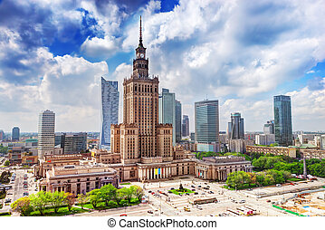 華沙, 宮殿, 科學, 摩天樓, poland., downtown., 文化