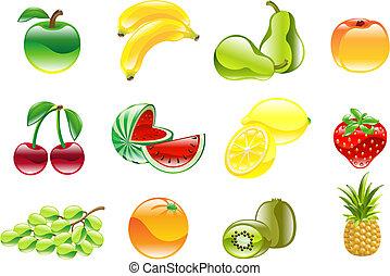華麗, 集合, 晴朗, 水果, 圖象