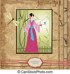葡萄酒, 圖樣, 設計, 亞洲的女孩, scrapbooking., 你