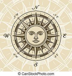 葡萄酒, 太陽, 上升, 指南針