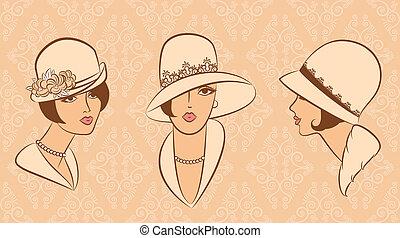 葡萄酒, 女孩, 時裝, hat.