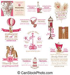 葡萄酒, 婚禮, -, 彙整, 矢量, 邀請, 剪貼簿, 設計