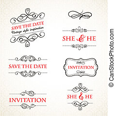 葡萄酒, 婚禮, 矢量, 集合, 邀請