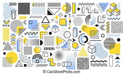 葡萄酒, 廣告, 旗幟, shapes., 矢量, halftone, 時髦, 海報, 設計, 元素, 商業, 廣告欄, 网, 形狀, sale., 集合, 傳單, 彙整, 幾何學, retro