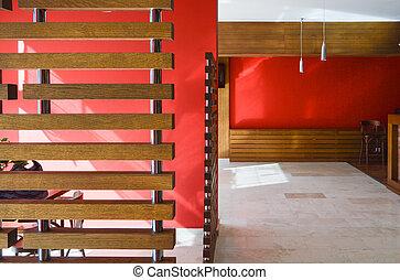 葡萄酒, 旅館, 現代, 內部, 木制, 裝飾, 空, 餐館, 紅色, 或者, 酒吧