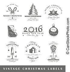 葡萄酒, 標籤, 集合, 聖誕節