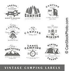 葡萄酒, 標籤, 集合, 露營