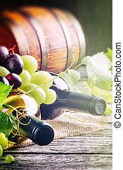 葡萄, 新鮮, 瓶子, 白色紅, 酒