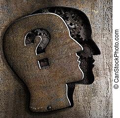 蓋子, 金屬, 問號, 腦子, 人類, 打開