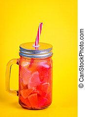 蓋子, 飲料, 秸桿, 錫, 壺, fruit., 玻璃, 紅色, 做, 片斷, 冷