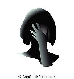 蓋, 它, 可以, 頭, 女孩, 插圖, 或者, 憂慮, 藝術, 圖畫, 女性, 矢量, because, 傷害, 是, stress., 手, 她, 特寫鏡頭, 遺憾, 關閉, face.