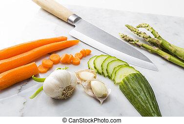 蔬菜, 切, 大理石, 板