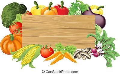 蔬菜, 木制, 插圖, 簽署