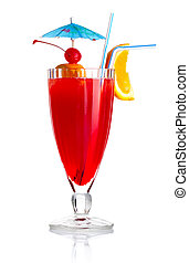 薄片, 傘, 酒精, 雞尾酒, 被隔离, 橙, 紅色
