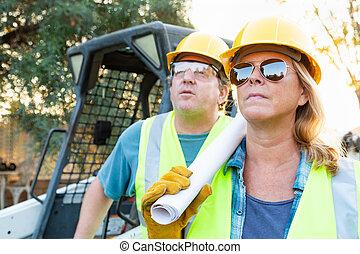 藍圖, 技術, 工人, 站點, 建設, 女性, 男性