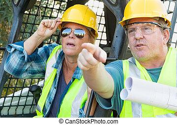 藍圖, 技術, 工人, 站點, 談話, 建設, 女性, 男性