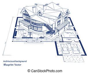 藍圖, 矢量, house., 建築學