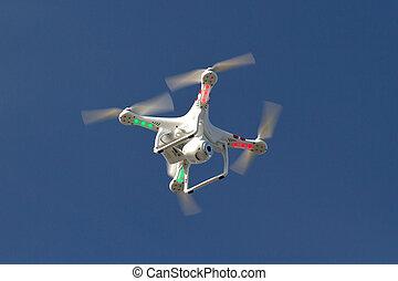 藍色的天空, 小, 照像機, unmanned, 直升飛机, 浮動